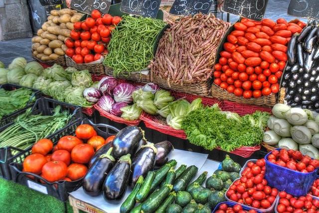 Un étal de légumes